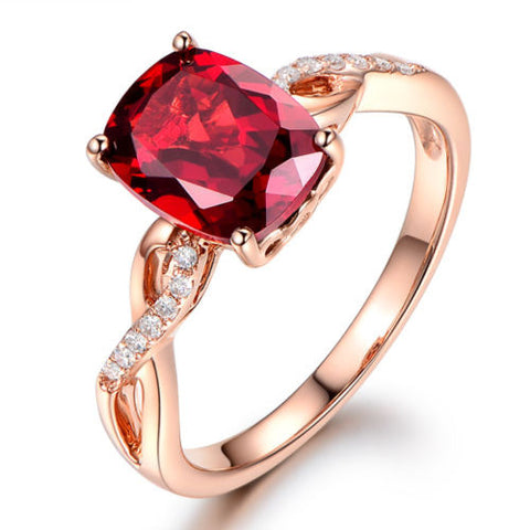 Cushion Red Garnet Engagement Ring Pave Diamond Wedding 14K Rose Gold 8x10mm - Lord of Gem Rings - 1
