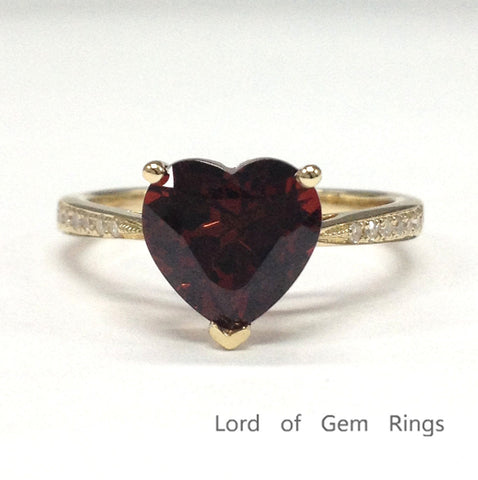 Heart Shaped Red Garnet Engagement Ring Pave Diamond Wedding 14K Yellow Gold 8mm - Lord of Gem Rings