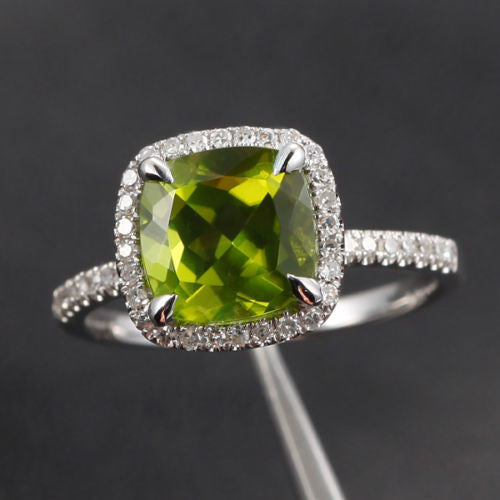 Cushion Peridot Engagement Ring Pave Diamond Wedding 14K White Gold 8mm Claw Prongs - Lord of Gem Rings - 1