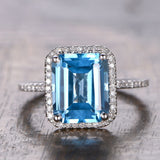 Emerald cut Blue Topaz Engagement Ring Pave Diamond Wedding 14K White Gold 8x10mm - Lord of Gem Rings - 1