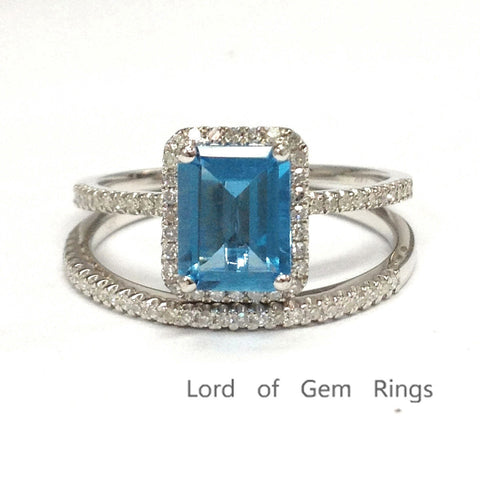 Emerald Cut Blue Topaz Engagment Ring Sets Pave Diamond Wedding 14K White Gold 6x8mm - Lord of Gem Rings - 1