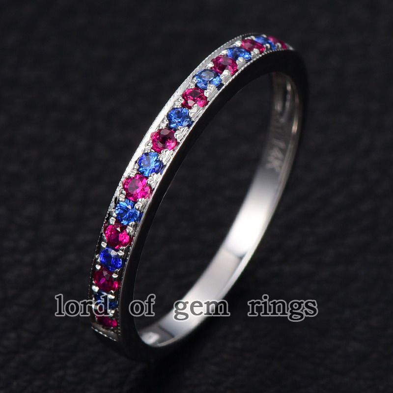 Pave Ruby/Sapphire Wedding Band Half Eternity Anniversary Ring 14K White Gold - Lord of Gem Rings - 1