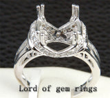 Diamond Engagement Semi Mount Ring 14K White Gold Setting Cushion 10mm Channel - Lord of Gem Rings - 1