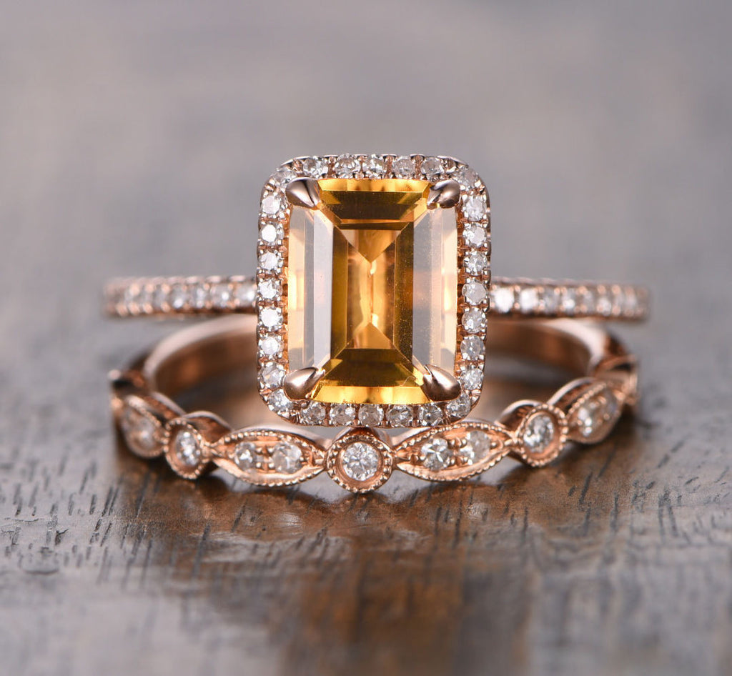Emerald Cut Citrine Engagement Ring Sets Pave Diamond Wedding 14K Rose Gold 6x8mm  Art Deco - Lord of Gem Rings - 1