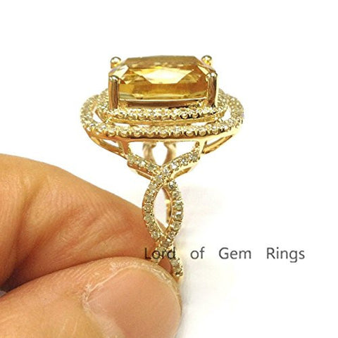 Cushion Citrine Engagement Ring Pave Diamond Wedding 14K Yellow Gold,9x11mm - Lord of Gem Rings - 1