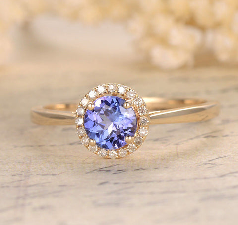Round Tanzanite Engagement Ring Pave Diamond Wedding 14K Yellow Gold 6.5mm - Lord of Gem Rings - 1
