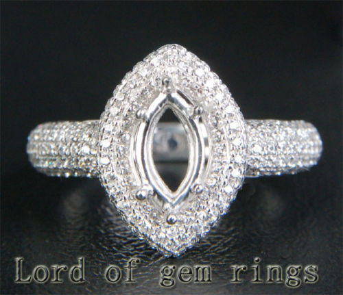 Diamond Engagement Semi Mount Ring 14K White Gold Setting Marquise 4.5x9mm - Lord of Gem Rings