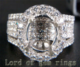 HEAVY! 9x11mm Oval Cut 14K White Gold 3.03CT Diamonds Engagement Semi Mount Ring - Lord of Gem Rings - 1