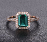 Emerald Shape Emerald Engagement Ring Pave Diamond Wedding 14K Rose Gold 6x8mm - Lord of Gem Rings - 1