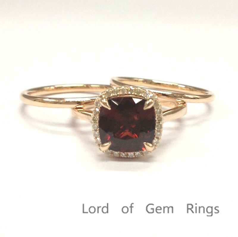 Cushion Garnet Engagement Ring Trio Sets Pave Diamond Wedding 14K Rose Gold 8mm