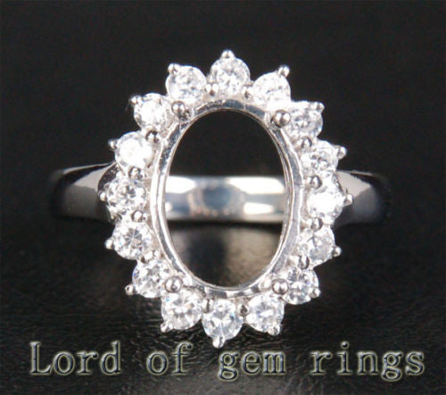 HEAVY! 9x12mm Oval Cut Flower Halo 1.35ctw Diamonds Semi Mount Settings in 14K White Gold - Lord of Gem Rings - 1