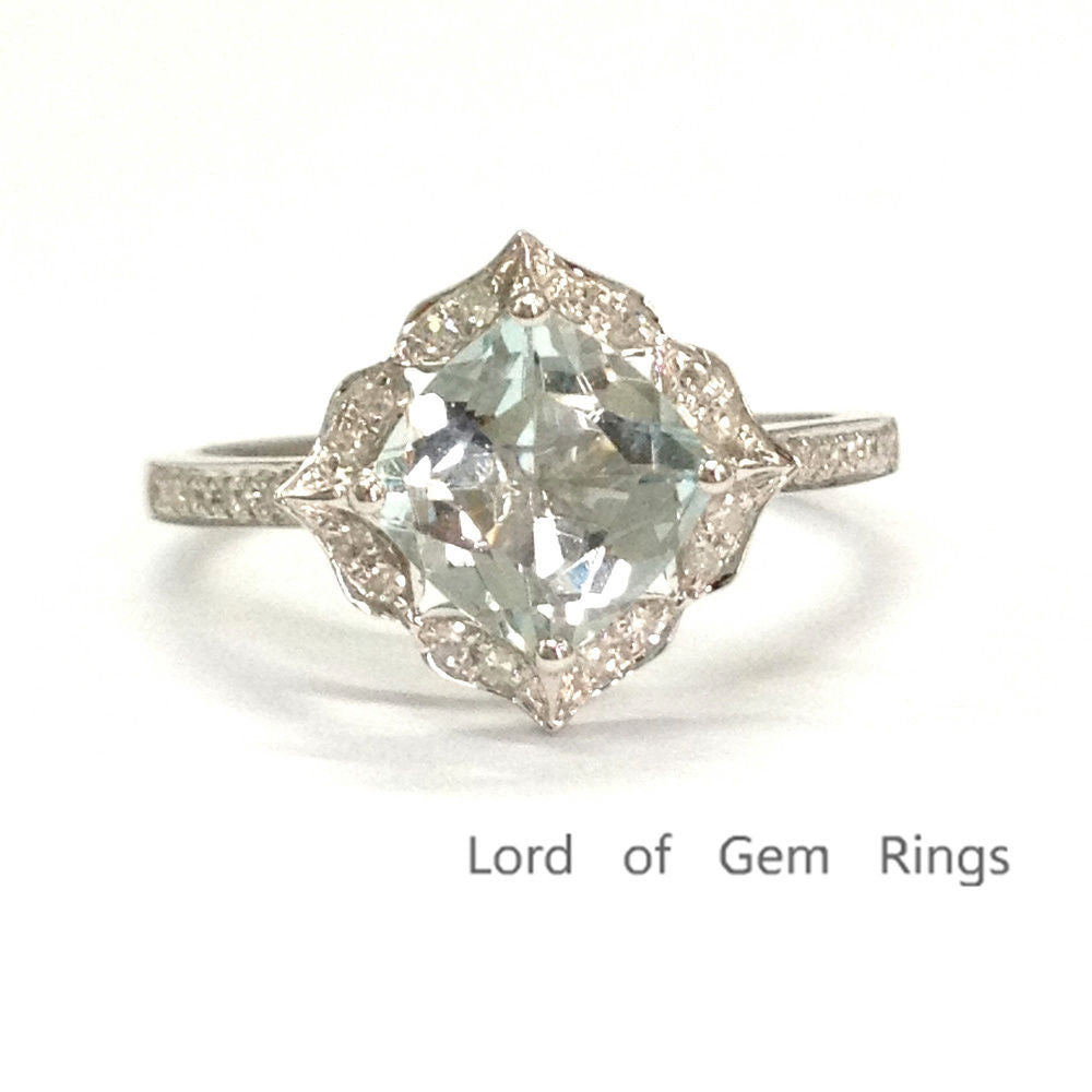 Cushion Aquamarine Engagement Ring Pave Diamond Wedding 14K White Gold 8mm Floral Halo - Lord of Gem Rings - 1