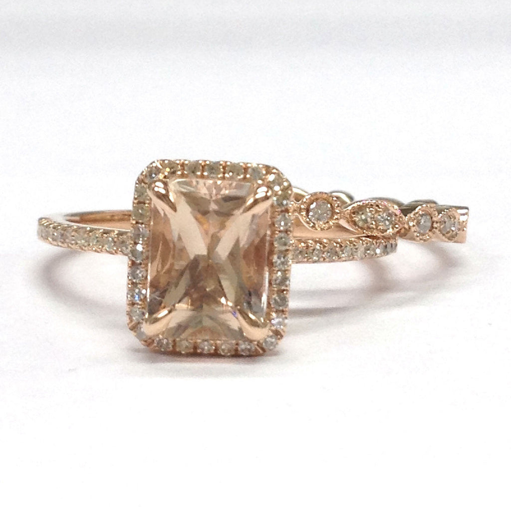 Emerald Cut Morganite Engagement Ring Sets Pave Diamond Wedding 14K Rose Gold 6x8mm - Lord of Gem Rings - 1