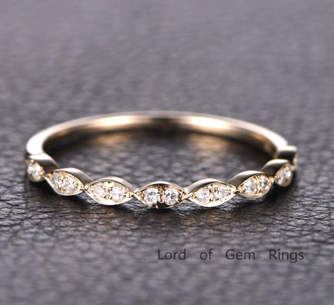 Pave Diamond Wedding Band Half Eternity Anniversary Ring 14K Yellow Gold - Lord of Gem Rings - 1