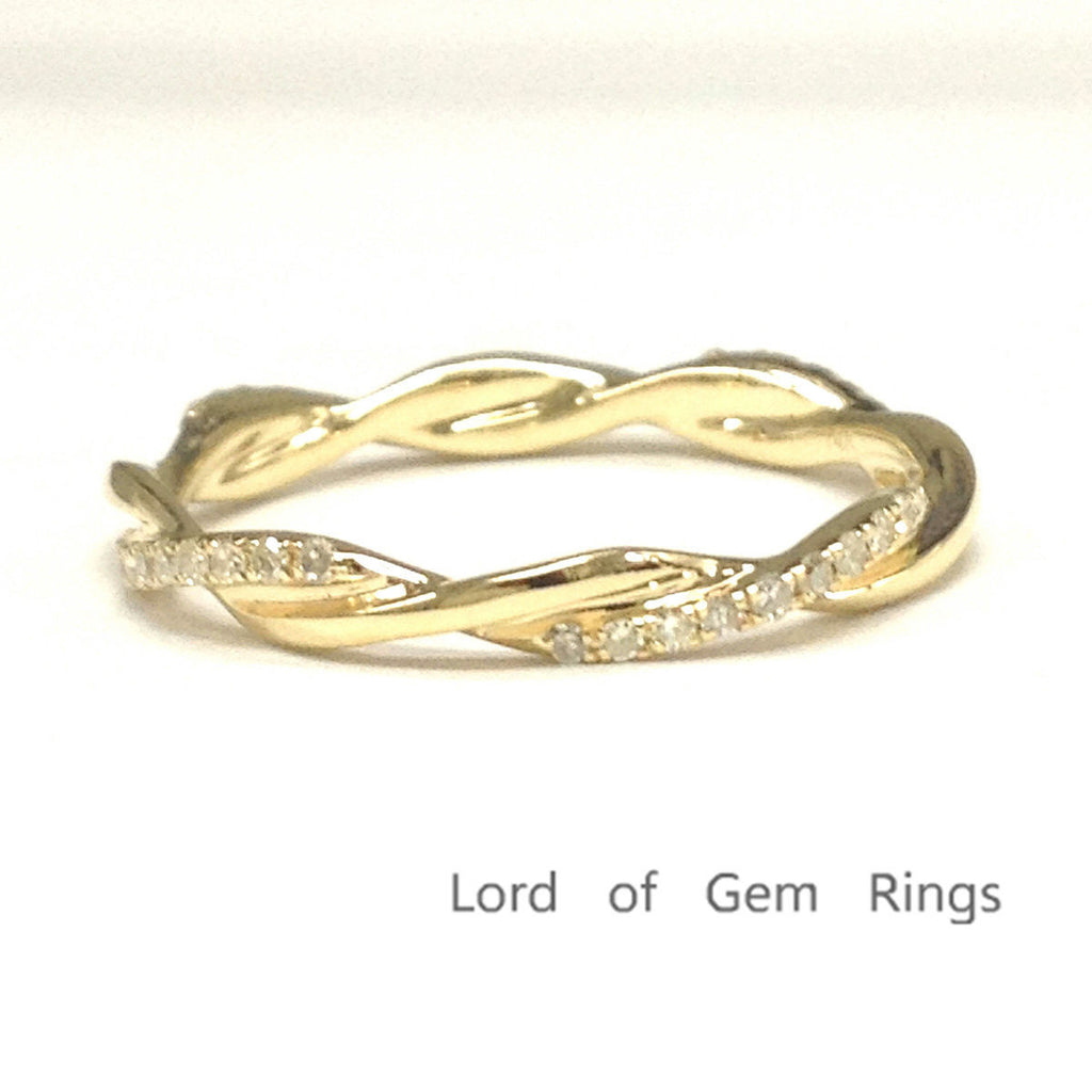 Pave Diamond Wedding Band Eternity Anniversary Ring 14K Yellow Gold Twist Unique - Lord of Gem Rings - 1