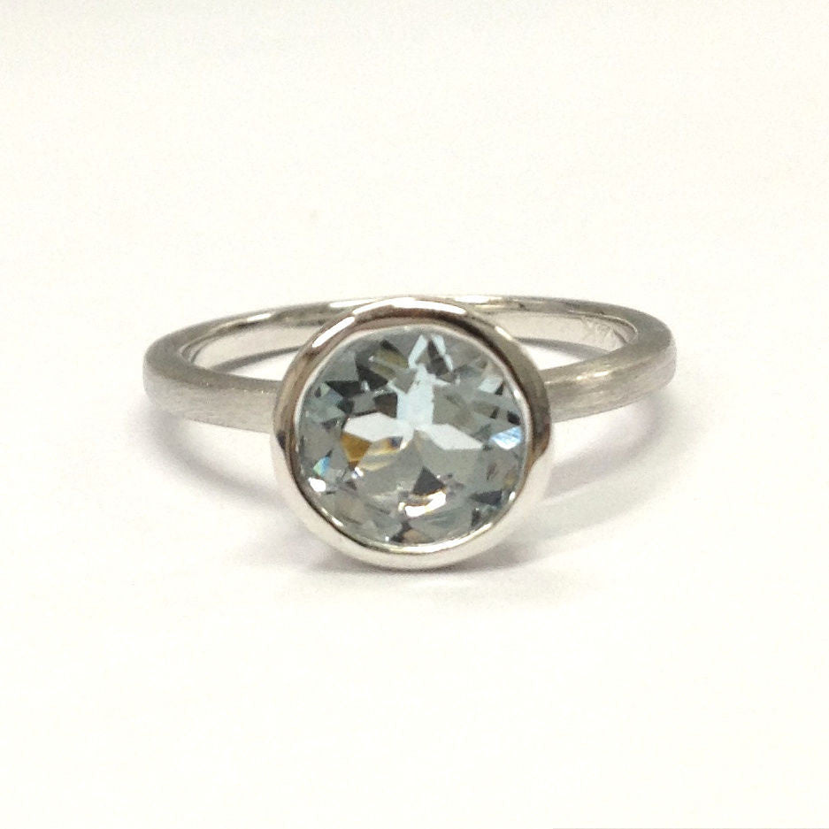 Round Aquamarine Engagement Ring 14K White Gold 7mm Bezel Solitaire - Lord of Gem Rings - 1