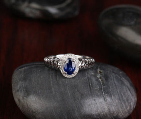Oval Sapphire Engagement Ring Pave Diamond Wedding 14K White gold .81CT - Lord of Gem Rings - 1