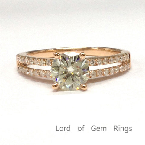 Round Moissanite Engagement Ring Pave Diamond Wedding 14K Rose Gold 6.5mm - Lord of Gem Rings - 1
