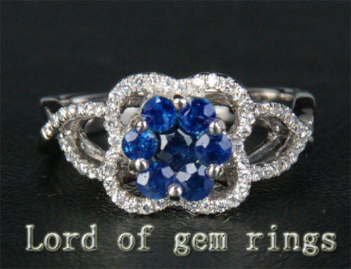 Round Sapphire Engagement Ring Pave Diamond Wedding 14K White gold .85ct - Lord of Gem Rings - 1