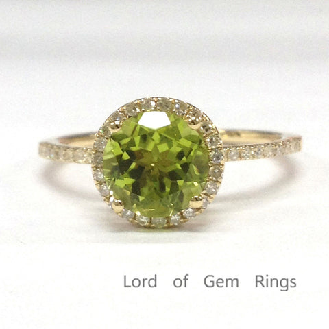 Round Peridot Engagement Ring Pave Diamond Wedding 14k Yellow Gold 7mm - Lord of Gem Rings - 1