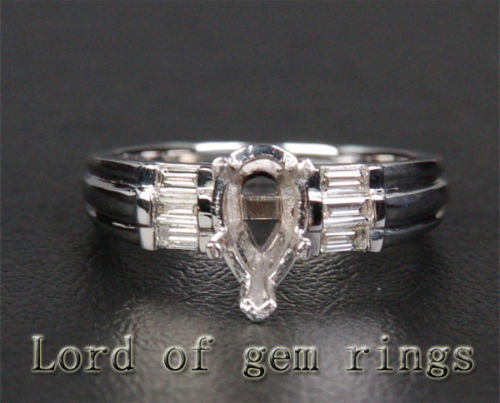 VS Diamond Engagement Semi Mount Ring 14K White Gold Setting Pear 6x8mm - Lord of Gem Rings - 1