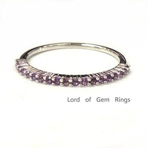 Purple Amethyst Wedding Band Half Eternity Anniversary Ring 14K White Gold,Thin Design - Lord of Gem Rings - 1