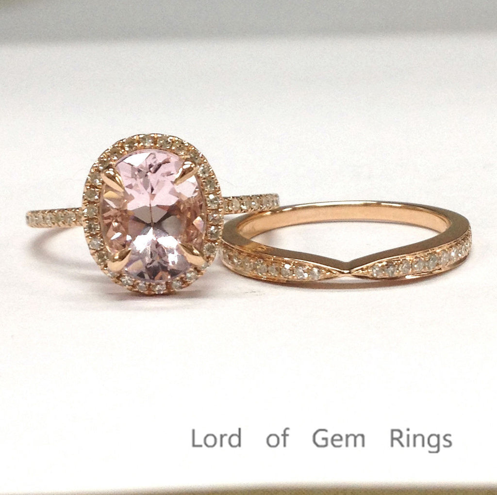 Oval Morganite Engagement Ring Sets Pave Diamond Wedding 14K Rose Gold 7x9mm - Lord of Gem Rings - 1