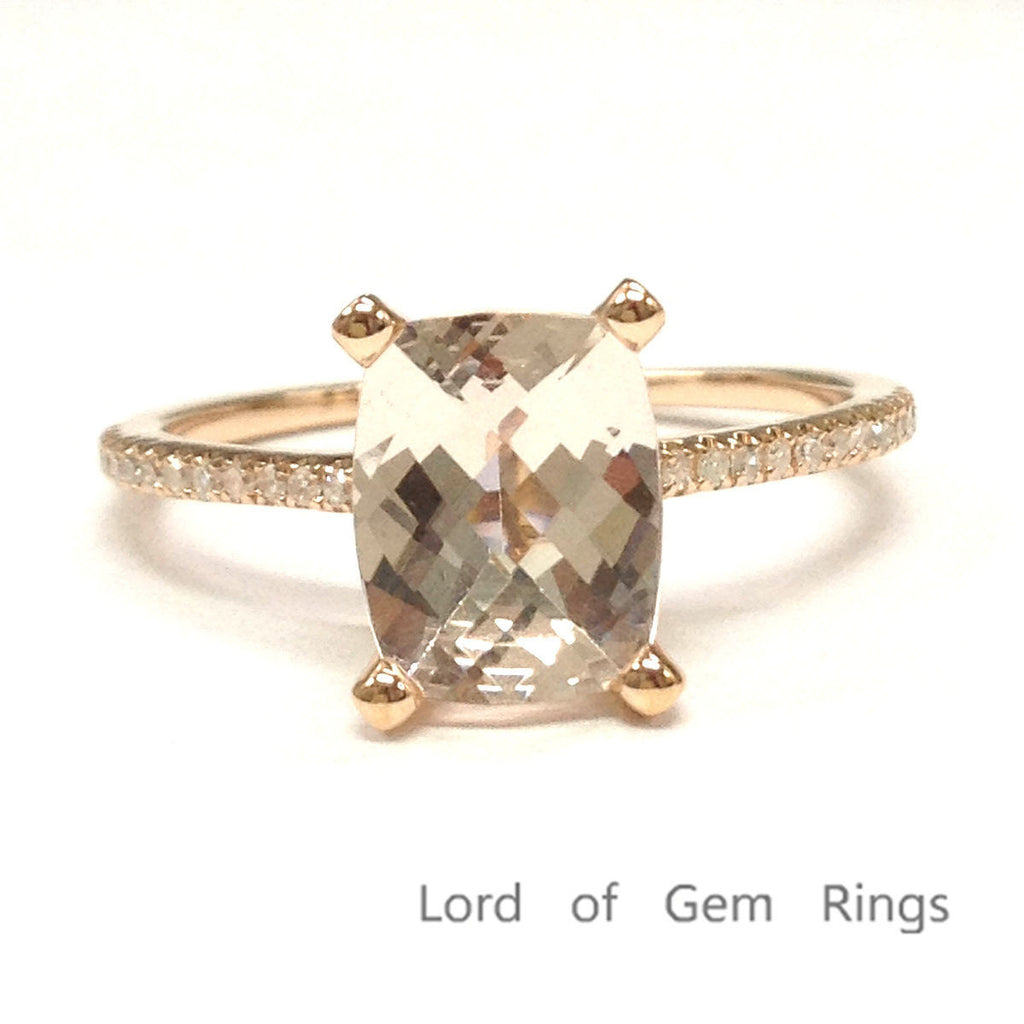 Cushion Morgantie Engagement Ring 7x9mm 14K Rose Gold Pave diamond under gallery - Lord of Gem Rings - 1