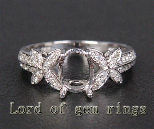 Diamond Engagement Semi Mount Ring 14K White Gold Setting Oval 6x8mm - Lord of Gem Rings - 1