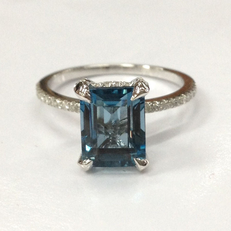 Emerald Cut London Blue Topaz Engagement Ring Pave Diamond Wedding 14K White Gold 7x9mm - Lord of Gem Rings - 1
