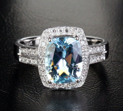 Cushion Aquamarine Engagement Ring Pave Diamond Wedding 14K White Gold,8x10mm - Lord of Gem Rings - 1