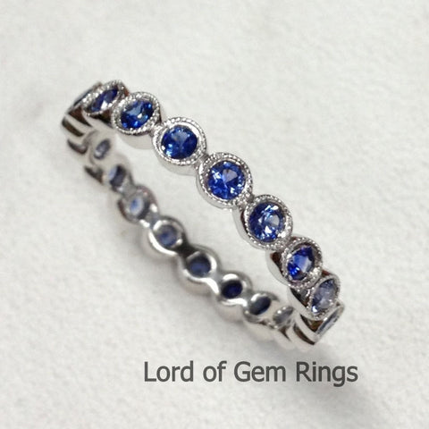 Milgrain Bezel Blue Sapphires Wedding Band Eternity Anniversary Ring,14K White Gold - Lord of Gem Rings - 1