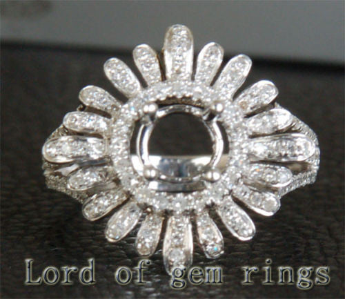 Unique Flower 6mm Round Cut 14K White Gold .68CT Diamond Engagement Semi Mount Setting - Lord of Gem Rings - 1
