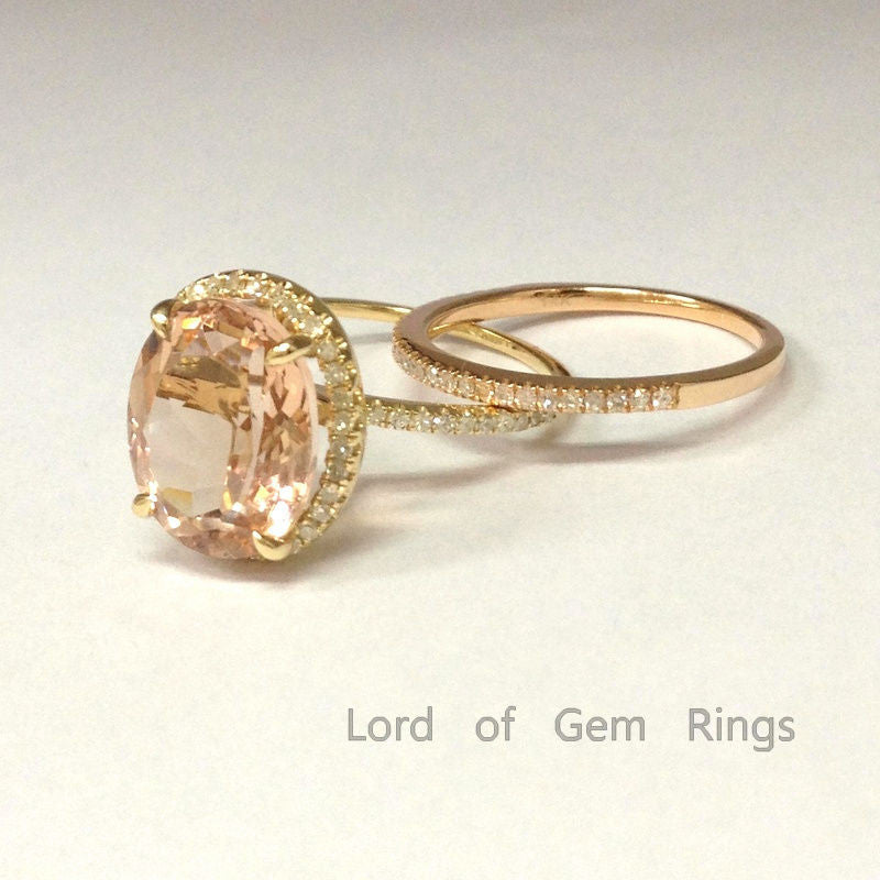 Oval Morganite Engagement Ring Sets Pave Diamonds Wedding 14K Multi-tone Gold 10x12mm - Lord of Gem Rings - 1