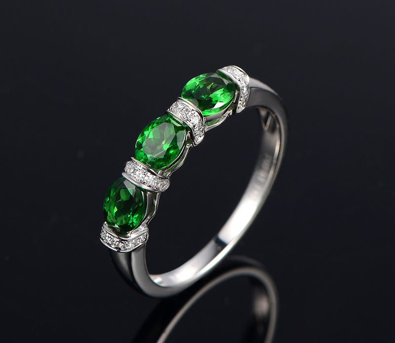 Oval Tsavorite (Garnet) Diamond Wedding Band Anniversary Ring 14K White Gold 4x5mm 3 Stones - Lord of Gem Rings - 1