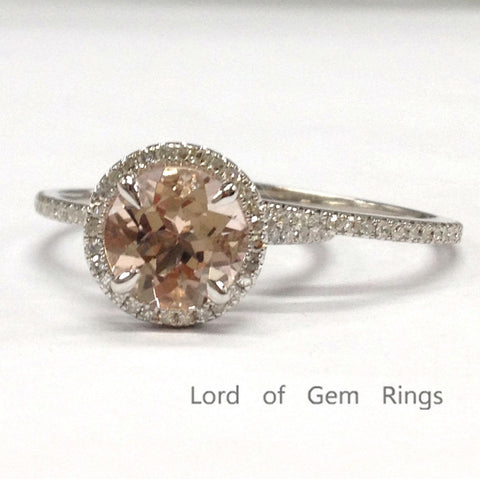 Round Morganite Engagement Ring Sets Pave Diamond Wedding 14K White Gold 8mm - Lord of Gem Rings - 1