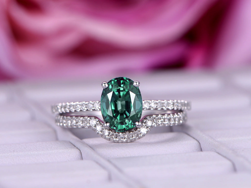 Oval Alexandrite Engagement Ring Sets Pave Diamond 14K White Gold 6x8mm