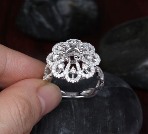 Flower 5.5-6mm Round 1.09ct VS diamond 14k white gold Engagement Semi Mount Ring - Lord of Gem Rings - 1
