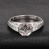 Diamond Engagement Semi Mount ring 14K White Gold Setting Round 6.5mm Filigree Hand Engraved - Lord of Gem Rings - 2