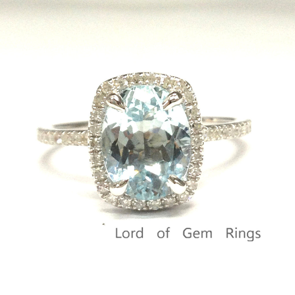 Oval Aquamarine Engagement Ring Pave Diamond Wedding 14K White Gold 6x8mm  Cushion Halo - Lord of Gem Rings - 1