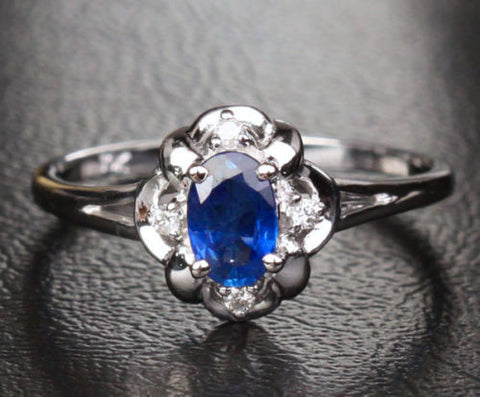 Oval Sapphire Engagement ring Diamond 10k White gold  Flower .62CT - Lord of Gem Rings - 1