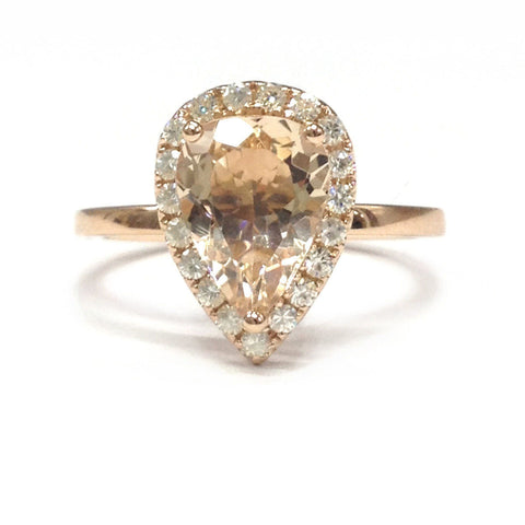Pear Morganite Engagement Ring Pave Moissanite Halo 14K Rose Gold 6x9mm - Lord of Gem Rings - 1