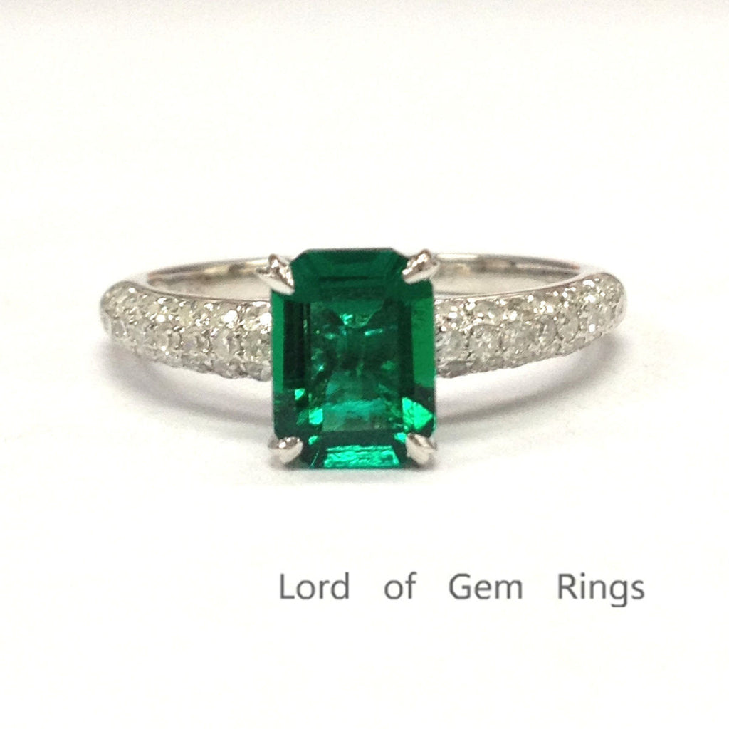 Emerald Shape Emerald Engagement Ring Pave Diamond Wedding 14k White Gold 6x8mm Claw Prong - Lord of Gem Rings - 1
