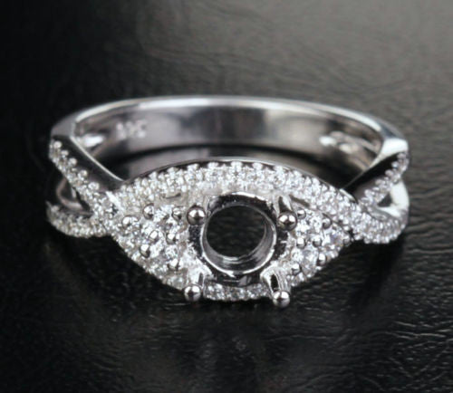 Unique 5mm Round Cut 14K White Gold Pave .41CT Engagement Diamonds Ring Setting - Lord of Gem Rings - 1