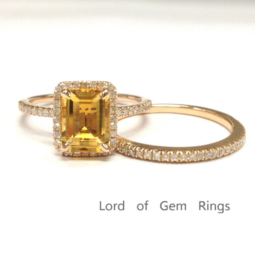 Emerald Cut Citrine Engagement Ring Sets Pave Diamond Wedding 14K Rose Gold 6x8mm - Lord of Gem Rings - 1