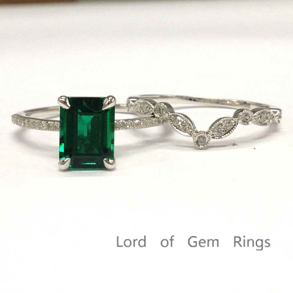 549 emerald shaped emerald engagement ring sets pave diamond wedding 14k white gold lord of. Black Bedroom Furniture Sets. Home Design Ideas
