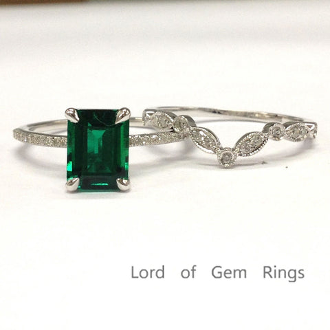 Emerald Shape Emerald Engagement Ring Sets Pave Diamond Wedding 14k White Gold 6x8mm Art Deco Band - Lord of Gem Rings - 1