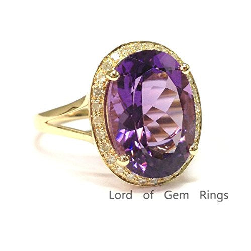 Oval Purple Amethyst Engagement Ring Pave Diamond Wedding 14K Yellow Gold,10x14mm,Split Shank - Lord of Gem Rings - 1