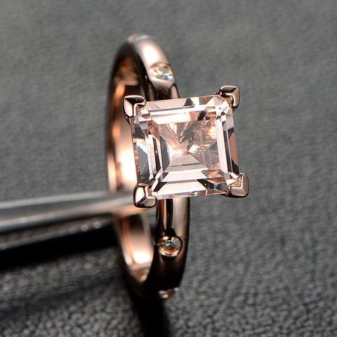 Ready to Ship - Princess Morganite Engagement Ring Moissanite 14K Rose Gold 6.5mm - Lord of Gem Rings - 1