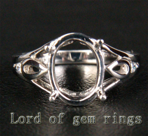 Diamond Engagement Semi Mount Ring 14K White Gold Oval 8x10mm - Lord of Gem Rings - 1